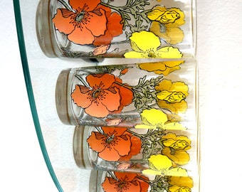 Vintage Tumblers Floral Poppy Yellow Orange Coral Drinking Glasses Mod Flower 1970s Set of Four