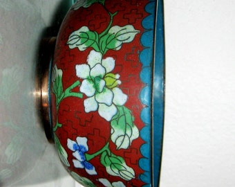 Vintage Oriental Bowl Cloisonne Enamel Copper Filigree Rice Bowl Hand Wrought  Brick Red Green Blue 1900s