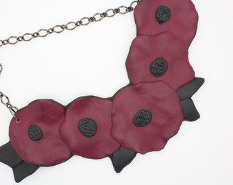 Five Overlapping Flowers Bib Necklace, Handmade Polymer clay