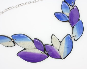 Purple and Blue polymer clay bib necklace, Handmade one of a kind