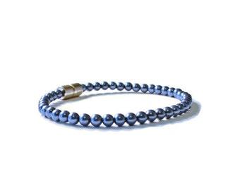 Lapis Blue Pearl Magnetic Hematite Therapy Bracelet
