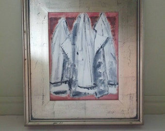 Framed Painting Chef Coat Restaurant Kitchen Art Foodie Gift Original