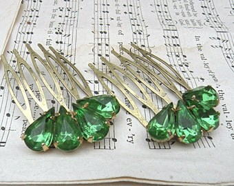 green rhinestone hair comb small upcycle jewelry recycle