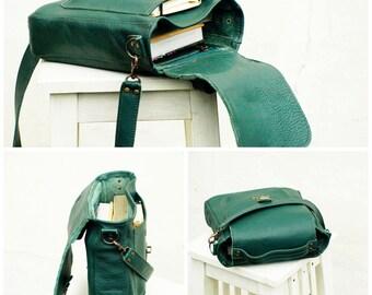 green leather bag, leather messenger, woodland forest green leather bag, crossbody, laptop bag business office bag, work bag, SPRING SUMMER
