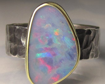 Boulder Opal Ring, Australian Opal Ring, 18k Gold and Sterling Silver Opal Ring