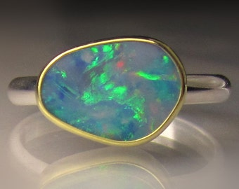 Opal Ring, Boulder Opal Ring, Australian Opal Ring, 18k Gold and Sterling Silver