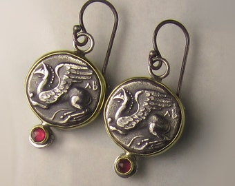 Ancient Greek Coin and Ruby Earrings in Sterling Silver and 18k Gold