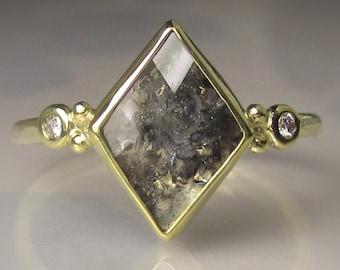 Rose Cut  Diamond Engagement Ring, Geometric Rose Cut Diamond Ring, Diamond Slice Ring, 14k and 18k Gold
