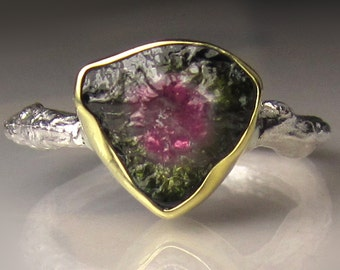 Watermelon Tourmaline Slice Ring, Watermelon Tourmaline Slice Twig Ring, 18k Yellow Gold and Sterling Silver