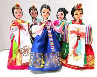 CHOICE Vintage Pose Doll, Asian Korea Ethnic Folk Art, Formal Ceremonial Costume, Geisha Japan Big Eye Cloth Satin Costume Souvenir Kitsch