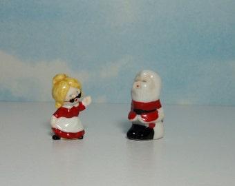 Miniature Bone China Santa and Mrs. Claus. Bug House. Japan