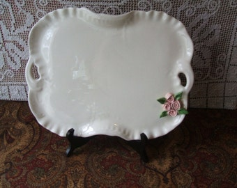 Beautiful Vanity Dresser Porcelain Tray Mid Century, or elegant 2 Handles Serving Platter, Raised Pink Roses, Mud Pie USA