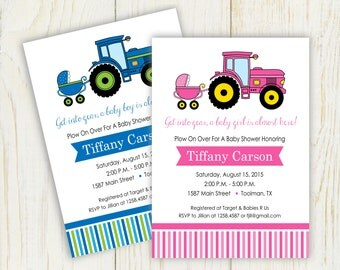 Baby Shower Tractor Theme Invitation - digital files - pink or blue