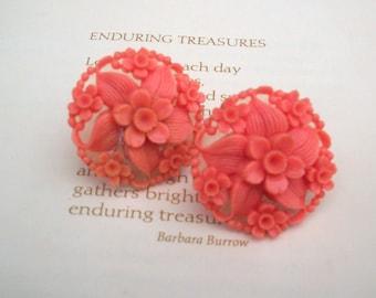 Vintage Coral Flower Screw Back Earrings