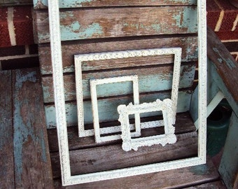 Vintage Shabby Chic Frame Set Vignette Collage Baroque Ornate Wedding Nursery Distressed Chippy Antique Off White