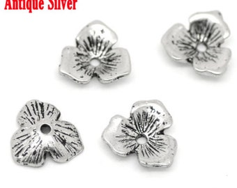 free uk postage Three leaves bead cap Silver Tone pack of 30