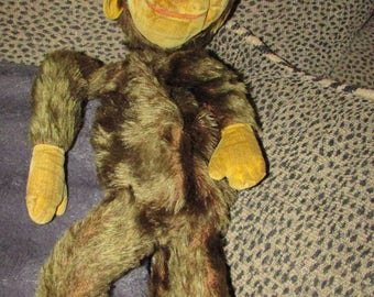 Early Vintage PJ BAG Monkey Stuffed Animal Mohair Velveteen Hands Feet