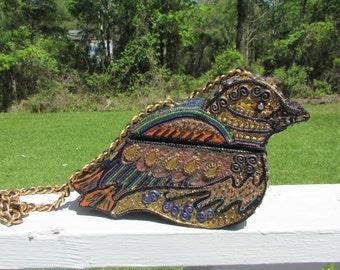 Unique BIRD PURSE Beaded Original Box Florida