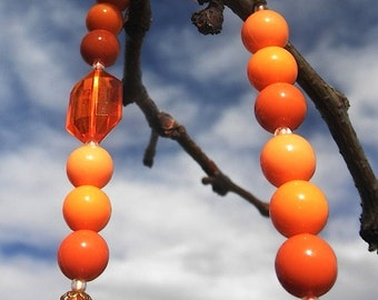 Vintage Sixties Orange Long Beaded Necklace