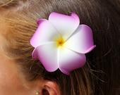 Flower Hair Clip, Purple Plumeria, Hawaiian Flowers, Beach Wedding , Hair Accessories