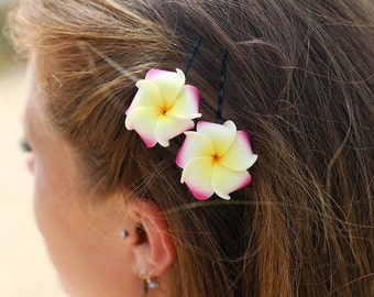 Pink and Yellow  Plumeria Bobby  Pins, 1 inch Flowers,   Floral Hair Pins
