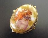 Vintage Cameo Brooch Pendant, Cameo Pendant, Porcelain Brooch, Victorian Scene Jewelry, Costume Jewelry, Pendant Brooch