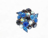 Vintage Blue Brooch, Marked Jewelry, Blue Jewelry, 1960s Costume Jewelry, Ladies Accessories, Vintage Bling Jewelry, Dressy Brooch