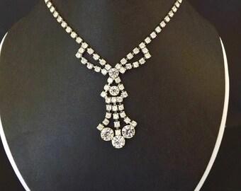 Vintage Diamond Rhinestone Necklace, Crystal Rhinestones, 1950s Jewelry, Dressy Necklace, Formal Necklace, Formal Jewelry