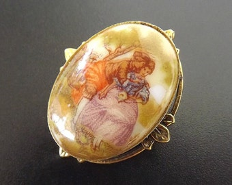 Vintage Cameo Brooch Pendant, Cameo Pendant, Porcelain Brooch, Victorian Scene Jewelry, Costume Jewelry, Pendant Brooch