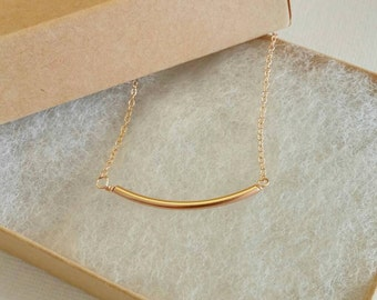 Girls gold tube necklace. Children. Delicate gold bar. Gift for little girl. Dainty. Birthday gift. Gold bar