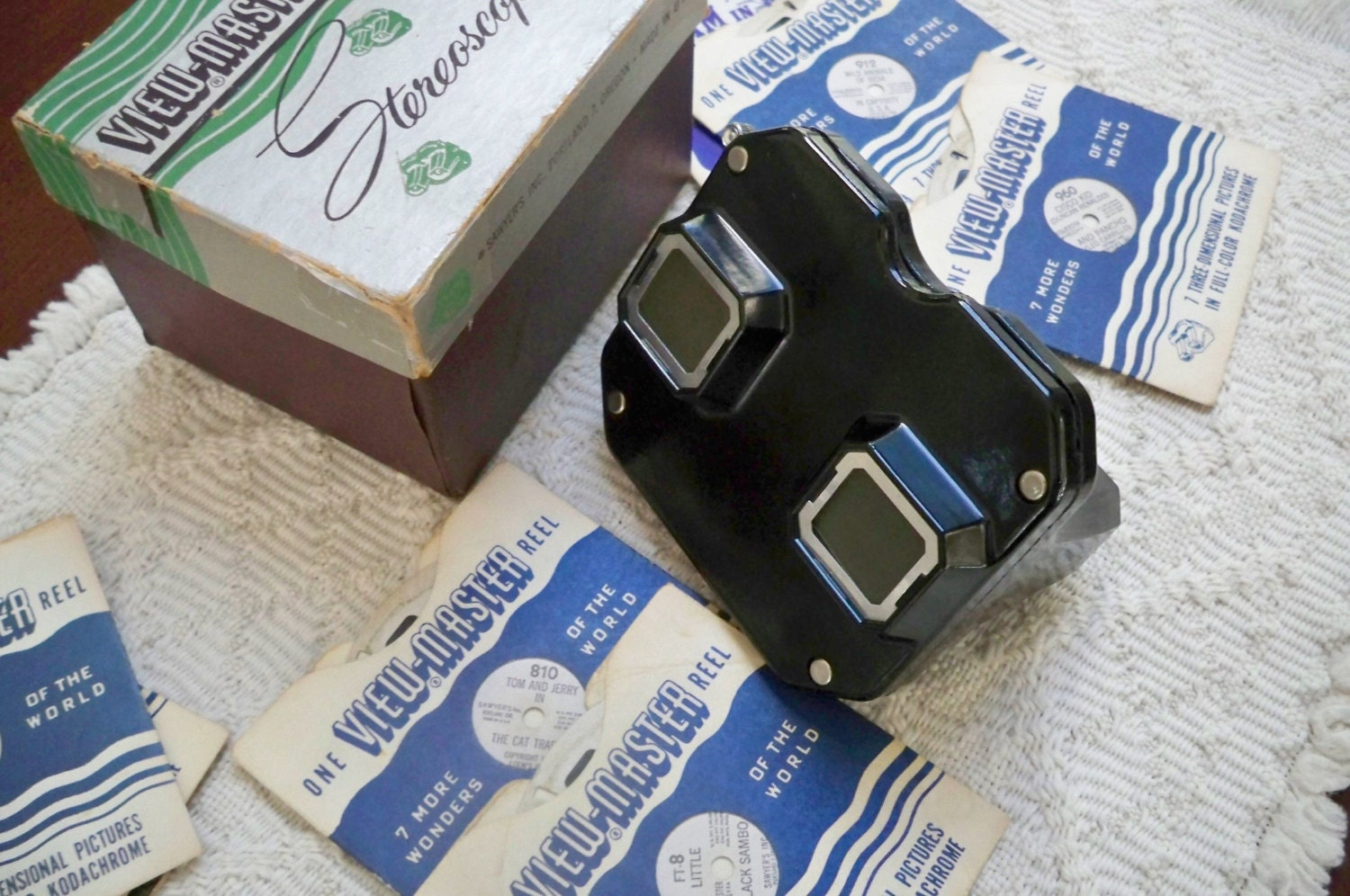 Vintage View Master Stereoscope Usa Reels Original Box 1950