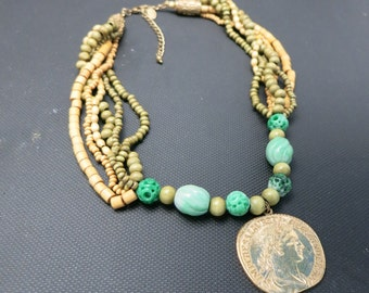 Coin Necklace Gladiator Emperor Multi strand beads