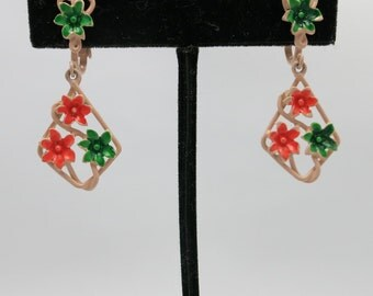 Clip on earrings NOS Floral Sixties