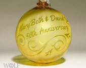 50th Anniversary Ornament Blown Glass Personalized Ornament