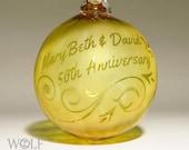 50th Anniversary Ornament Blown Glass Personalized Ornament