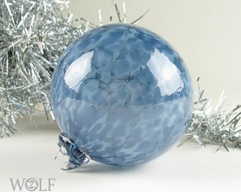 Blown Glass Ornament Suncatcher Denim Blue Speckle