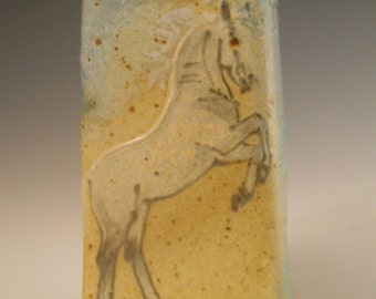 Small Squared Vase Spanish  Horse Mountain Landscape