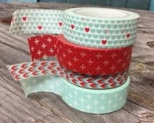 Washi Tape Set - 15mm -Red and Aqua Color Combination - Washi Tape Four Rolls  262, 979, 1114, 941