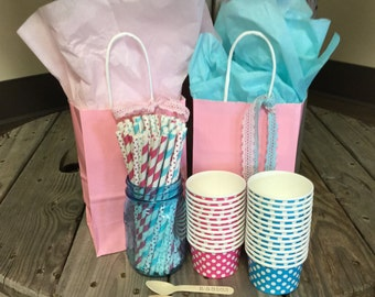 FREE SHIPPING! - GeNDeR ReVEaL Party Pack - Ice Cream Cups - Paper Straws - Spoons - 40 pack