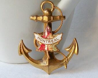 Vintage Anchor Brooch Vintage Montreal Canada Pin, Canadian