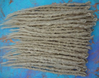 Blond Dreadlocks Full head of 70 knotty dreadlock extensions Synthetic dreads in light and pale ash blonde blend Medium length Ready to ship