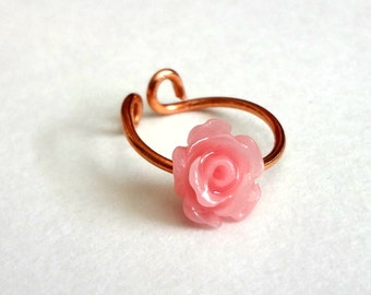 Hair Bead for Dreadlocks. Dread bead. Dreadlock bead. Pink Mini Rose. Dread charm. Large Hole Bead Cuff. Adjustable Cuff. Ready to Ship.