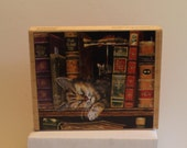 Frederick the Literate Rubber Stamp Happens Cat sleeping on book shelf