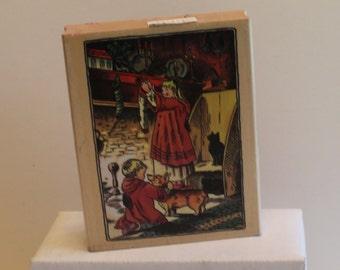 PSX Tasha Tudor Children Stockings Corgi Christmas Rubber Stamp RARE Rubber Stamp
