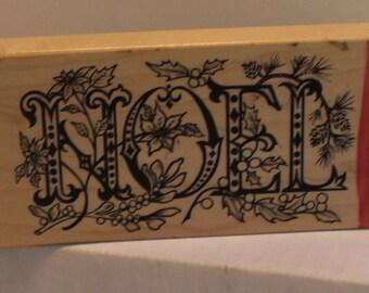 PSX NOEL Mistletoe Poinsettia Holly Rubber Stamp