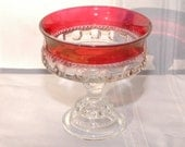 Vintage Red  Thumbprint Candy Dish Pedestal Dish