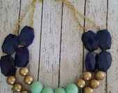 Navy, Mint, and Gold Chunky Statement Bib Necklace...Purchase 3 or more get 10% off