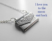 I Love You to The Moon and Back Silver Envelope Locket