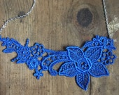 Royal Blue lace and Bronze Pearl necklace with brass chain