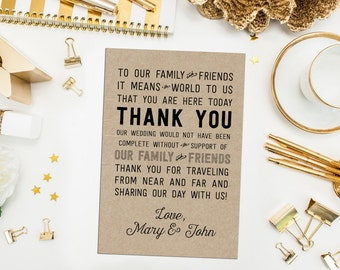 Kraft Wedding Thank You Cards. Custom Reception Thank You. Typography Wedding Thank You. Guest Thank You Card. Hotel Thank You. Bag Tags